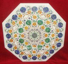 Marble Inlay Pietra Dura Work Table Top, Octagonal Shape Marble Coffee Table