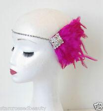 Hot Pink Silver Feather Headpiece Flapper 1920s Vintage Headband Rhinestone N92