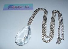 Clear Teardrop Bead in Silver Colour Pendant Necklace