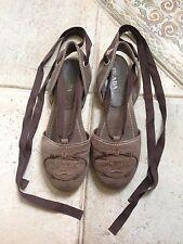 Prada Zapatos Sandalias Correas De Lona Marrón Talla EU 39 UK 6