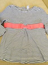 Janie and Jack Girls Long Sleeve Striped Top With Pink Bow Size 5