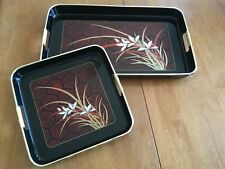 Japanese Serving Trays 2-Piece Black Gold Red Bamboo Flower Rectangular Square