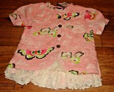MUSTARD PIE LITTLE GIRLS SIZE 5 BEAUTIFUL FLORAL TOP/JACKET WITH LACE TRIM NWT