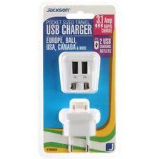 Jackson Pocket Sized Travel USB Adaptor 2 USB outlets Europe Bali USA Canada