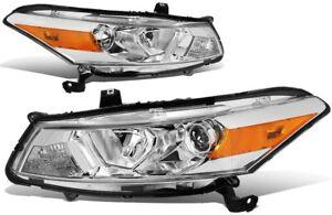 For 2008-2012 Honda Accord 4DR Sedan HeadLights Chrome/Amber Lamps Left+Right