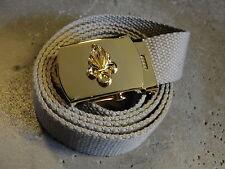 Ceinture toile beige / tan Légion Etrangére boucle et flamme dorées