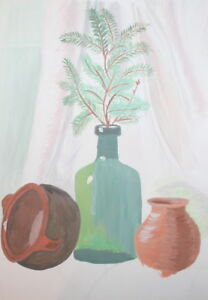 Gouache drawing still life with bottle, pot, vase and branch