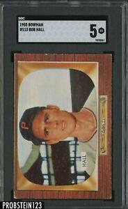 1955 Bowman #113 Bob Hall Pittsburgh Pirates SGC 5 EX