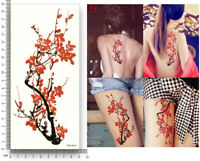 Blume Einmal Tattoos Flower Temporary Tattoo rote Blumen Body Sticker 19x9cm