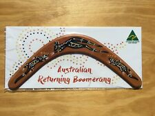 """Australian Made carded 14"""" decorated wood throwing boomerang - Wallaby design"""