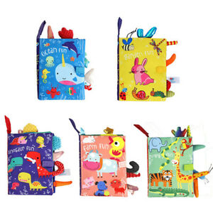 0-36M Baby Early Learning Toy Tail Cloth Book Parent-child Cloth Book Rattle MW