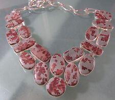 Sterling silver fossil jasper stones 99gr 17.5 inch/44.5 cm necklace.