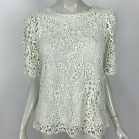 Anthropologie Eri + Ali Suzy Crochet Lace Top Short Sleeve Lined Women XS NWOT