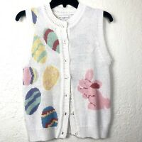 VTG Womens Easter Vest Bunny Eggs Pastel Knitted White Small Button Down