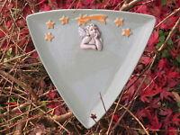 Weihnachtsteller, Kerzen-Teller, Keramik, Unikat, mint, Engel,Sterne Handarbeit