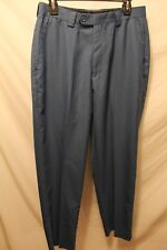 Men's Stacy Adams Blue 30x31 Polyester Blend Casual Flat Front Pants Altered