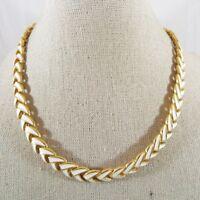 """Vintage Gold Tone White Enamel V Shape Link Necklace 15"""" L Signed FO"""