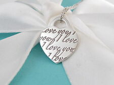 Tiffany & Co Silver I Love You Necklace Box Included