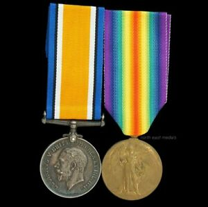 British War and Victory Medal Pair, Private Ward, East Yorkshire Regiment