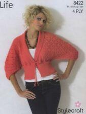2e1cc0168d4124 Stylecraft Knitting Pattern 8422 Tie Waist Lacy Dolman Cardigan Ladies  32-42