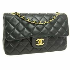 100% Auth. CHANEL Vintage Small Classic Black Lambskin Double Flap Bag 24K GPHW
