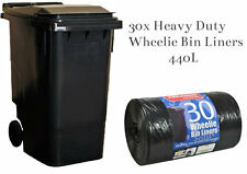 30x Standard Wheelie Bin Liners Strong Refuse Sacks Thick Big Rubbish Bags 240L