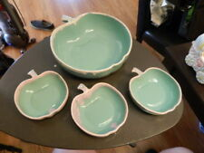 Turquoise dipped glazed pottery apple shaped serving bowl & 3 little bowls