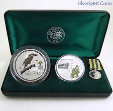 2003 AUSTRALIANS AT KOREAN WAR 2oz Kookaburra Coin & 1oz Medallion Set