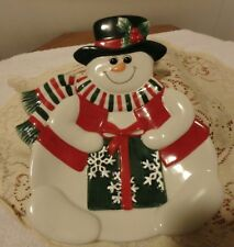 Snowman Plate, Fitz & Floyd, Holiday, Canape Cookie Appetizer