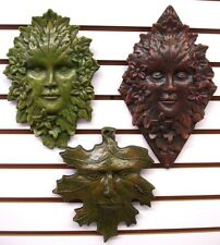 Lot of 3 Green Man Leaf Mythical Faces Gothic Art Forest Goddess