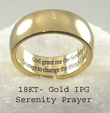 Gold Serenity Prayer Ring Stainless Steel Band  Recovery 12 Step AA
