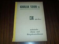 Workshop Manual Alfa Romeo Giulia 1300 Ti ,ab 1969