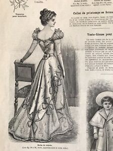MODE ILLUSTREE SEWING PATTERN March 5,1899 BRIDE DRESS, DOLL, BALL GOWN