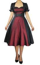 Black Burgundy Swing Dress Rockabilly Retro Anime Size 20 Plus 2X 20W *