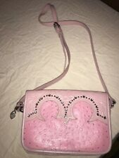 American West pink hand tooled leather & Ostrich Crystals Crossbody Purse Bag