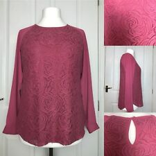 M&S Collection Lace Overlay Top Size 12 Pink Formal Work Office
