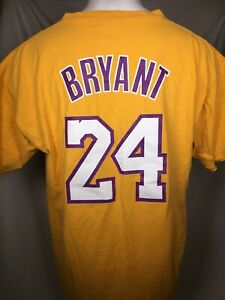 Los Angeles Lakers Kobe Bryant #24 Gold Majestic Jersey Style T-Shirt Men's XL