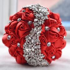Luxury Bridal Wedding Bouquet Rhinestone Crystal Brooch Silk Rose Flower Magic a
