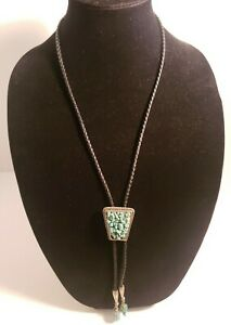 Western Bolo Tie Navajo Turquoise StonesCluster