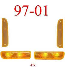 97 01 Jeep Cherokee 4Pc Park & Side Lights, Amber, Front Complete Assemblies!