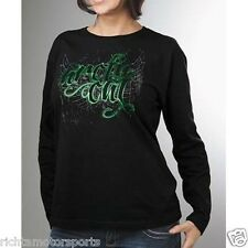 NEW JUNIOR'S ARCTIC CAT FOIL L/S T-SHIRT ~ SIZE L~ 5249-244 ~ BLACK/GREEN
