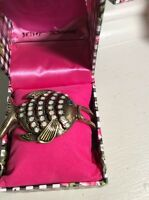 Betsey Johnson Brass Tone Hinged Bangle Fish $35 in Box BN2