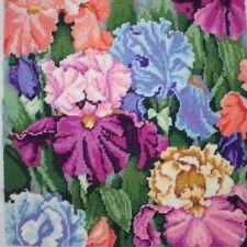 Vintage 1996 Bucilla Irises In Garden Needlepoint Complete Finished Unframed