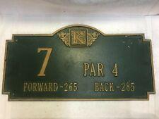 Cast Iron Golf Course Hole Plaque Tee Box Marker