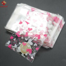 100pcs Self Adhesive Heart Plastic Bag Candy Cookies Creative Gift Package Bag