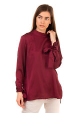 IRIS & INK Top Blouse Size 10 Split & Dipped Hem Long Sleeve Made in Italy