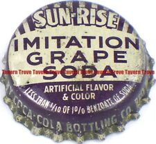 1950s Minnesota RED WING Coca Cola Bottling SUN-RISE IMIT. GRAPE SODA Cork Crown