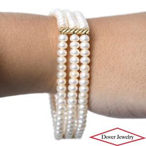 Estate 5mm Pearl 14K Gold Triple Tier Bead Bracelet 20.1 Grams NR