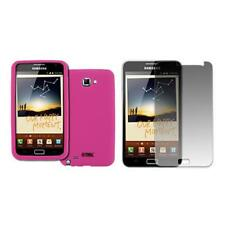 for Samsung Galaxy Note Hot Pink Silicone Case Skin Cover+LCD Screen Protector