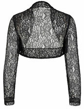 PLUS SIZE Evening Party Bolero Long Sleeves Lace Jacket Shrug Cropped Tops HOT